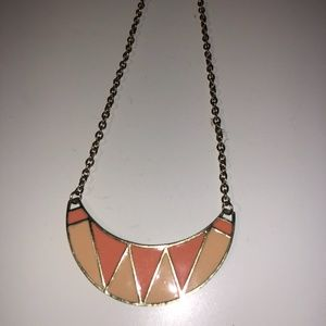 Forever 21 Peach/Pink and Gold Statement Necklace